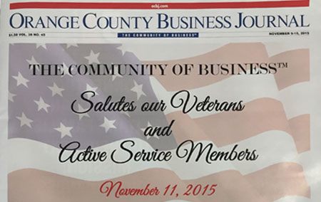 "Antis on the cover of OC Business Journal ""Salutes Our Veterans & Active Service Members"""