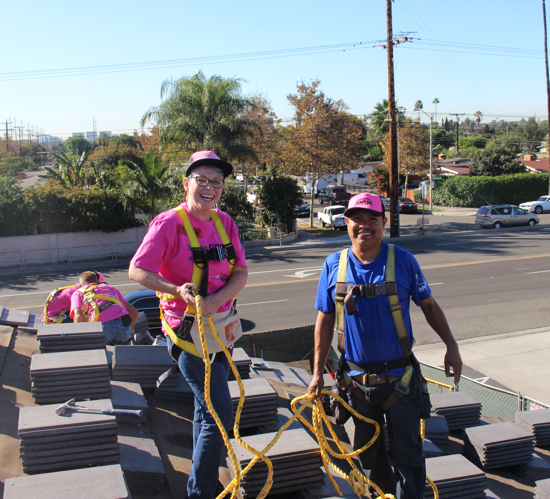 Karen Inman and Narciso Alarcon at a Habitat OC Team Build