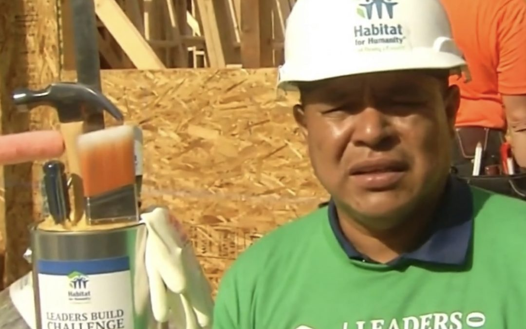 Antis Roofing's Narciso Alarcon interviewed by Telemundo at Habitat OC's Leaders Build Day 2020